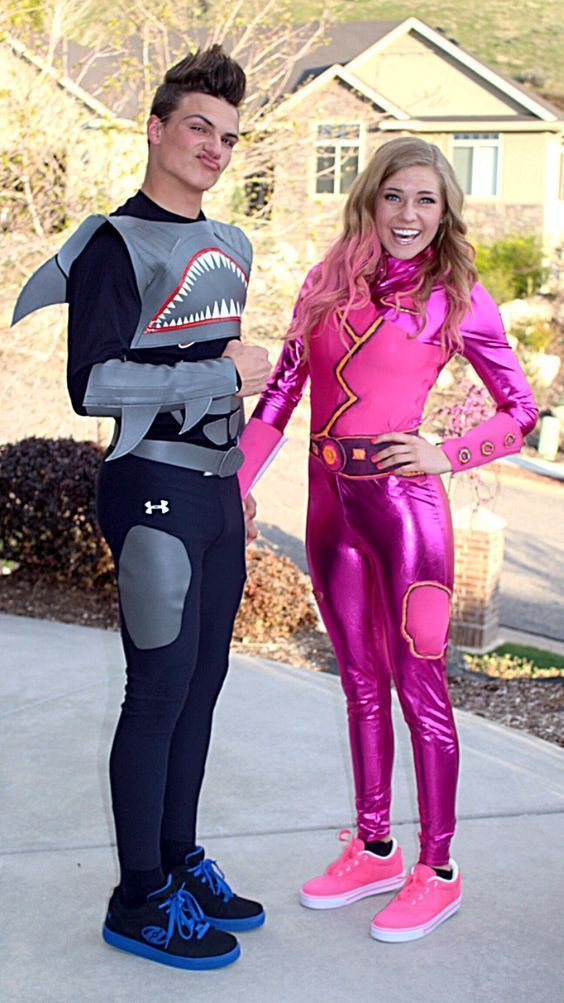 Couples costumes 2020, couples halloween costumes, Shark boy and Lava girl costumes