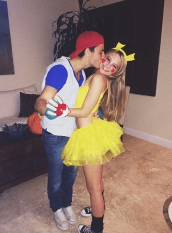 Couples costumes 2020, cute couples halloween costumes, Pokemon Halloween costumes, Ash and Pikachu costume
