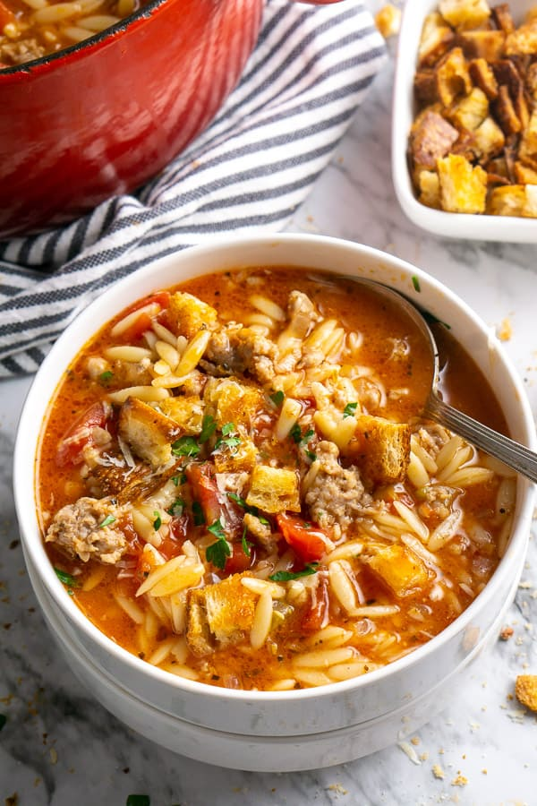 Instant Pot Italian Sausage Soup With Orzo