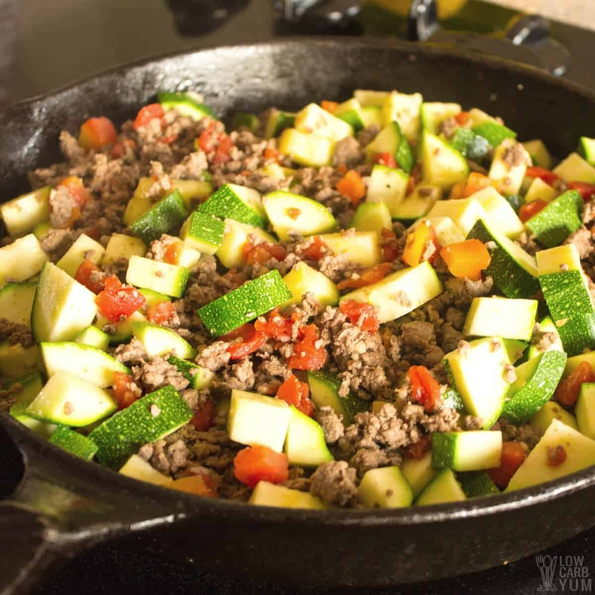 Keto Mexican Zucchini and Beef Skillet