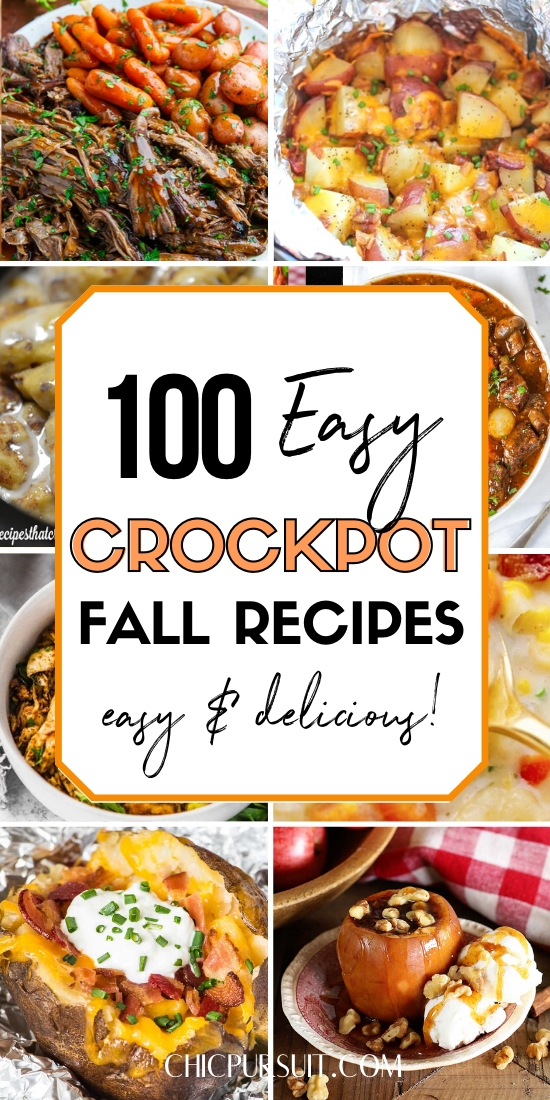 100 best fall crockpot recipes, including soups, stews, desserts, chicken crockpot recipes, healthy fall crockpot recipes and more.