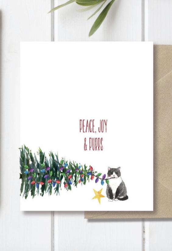 Beautiful Handmade Cat Christmas Card