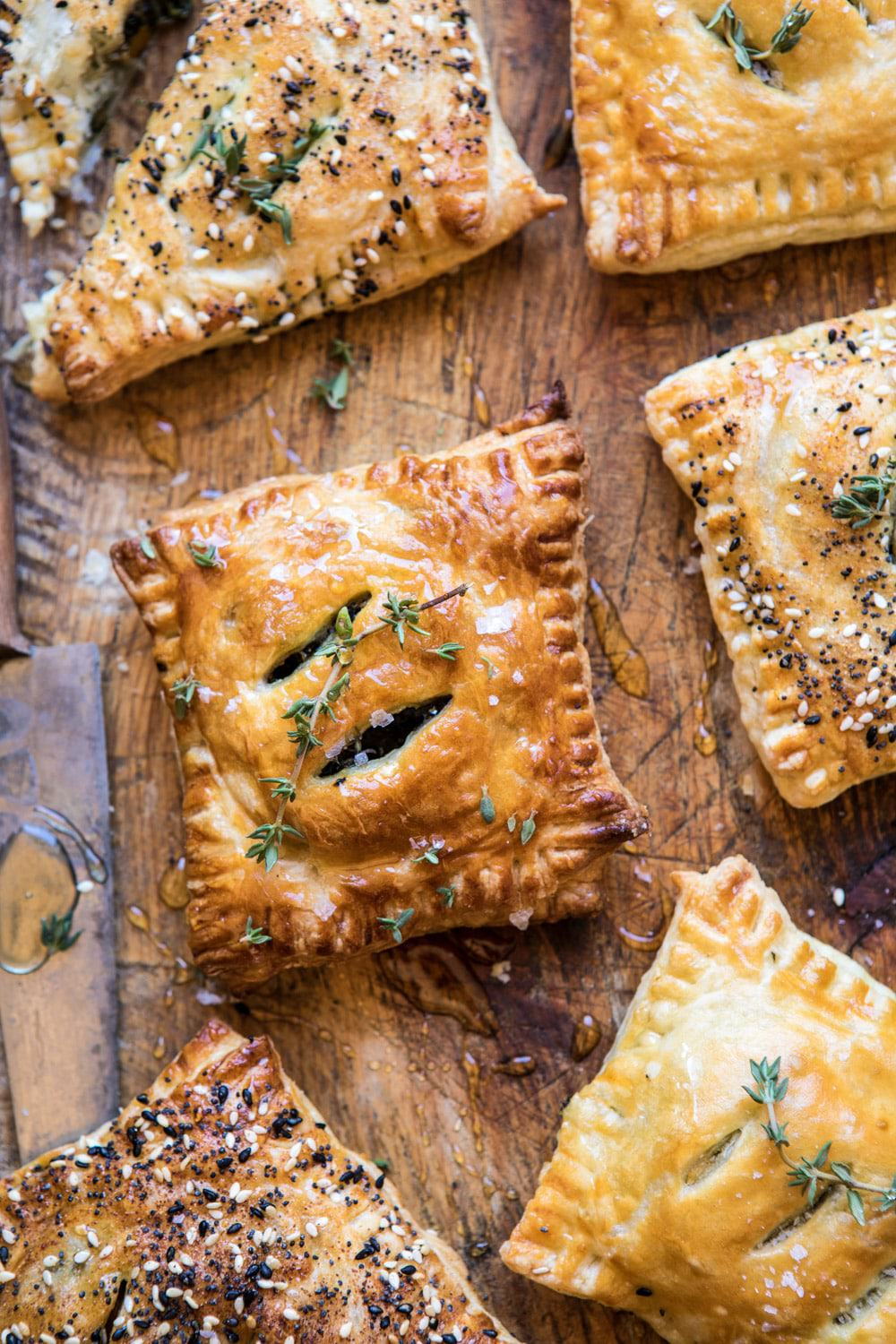 Caramelized Onion, Spinach And Cheddar Flaky Pastries