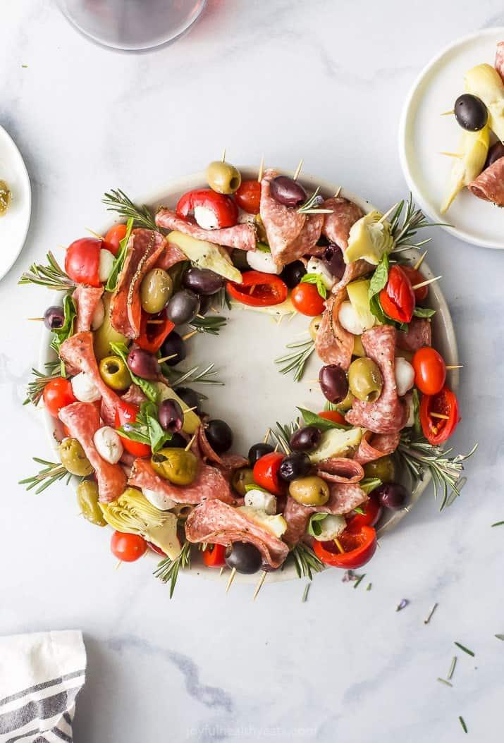 Festive Antipasto Skewers Christmas Wreath