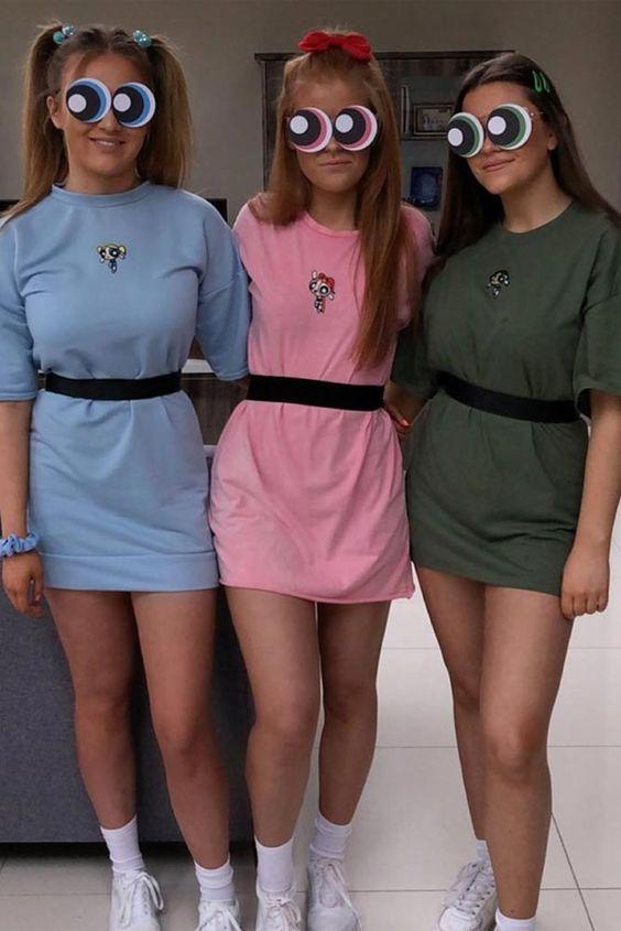 Cute Halloween costumes for girls - powerpuff girls trio Halloween costumes