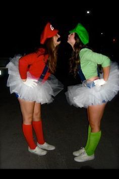 Cute BFF Halloween costumes for two - Mario and Luigi costumes