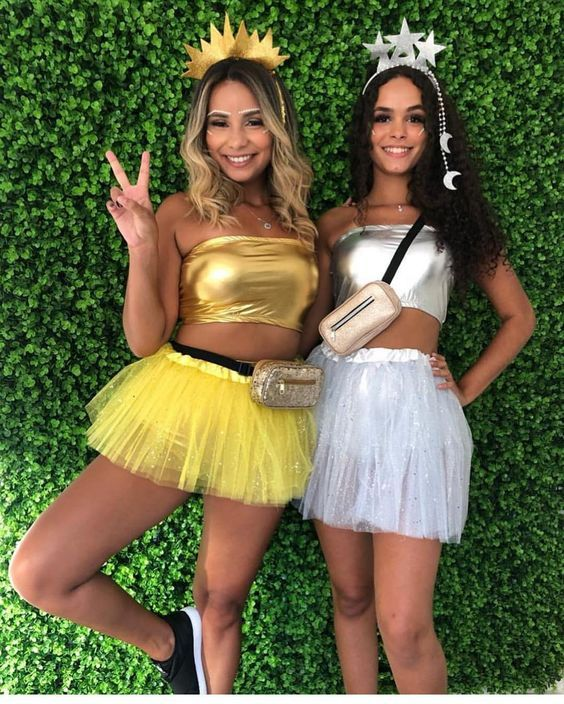 Cute matching BFF Halloween costumes for besties - sun and stars costume