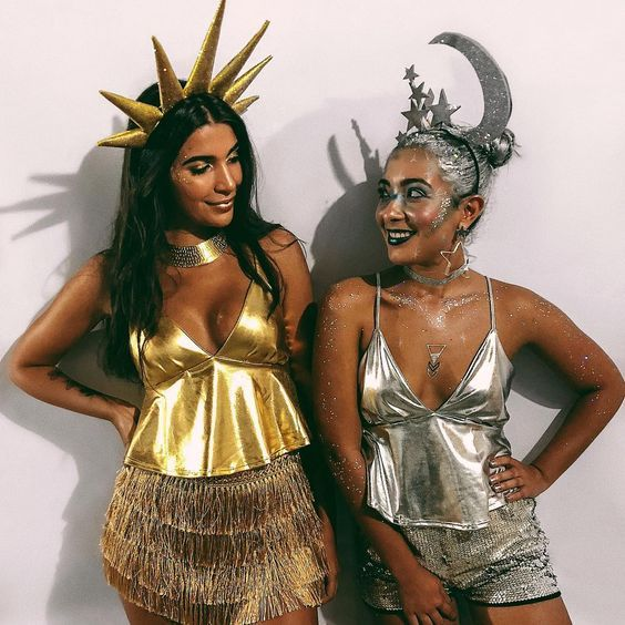 Cute BFF Halloween costumes for besties - Sun and moon