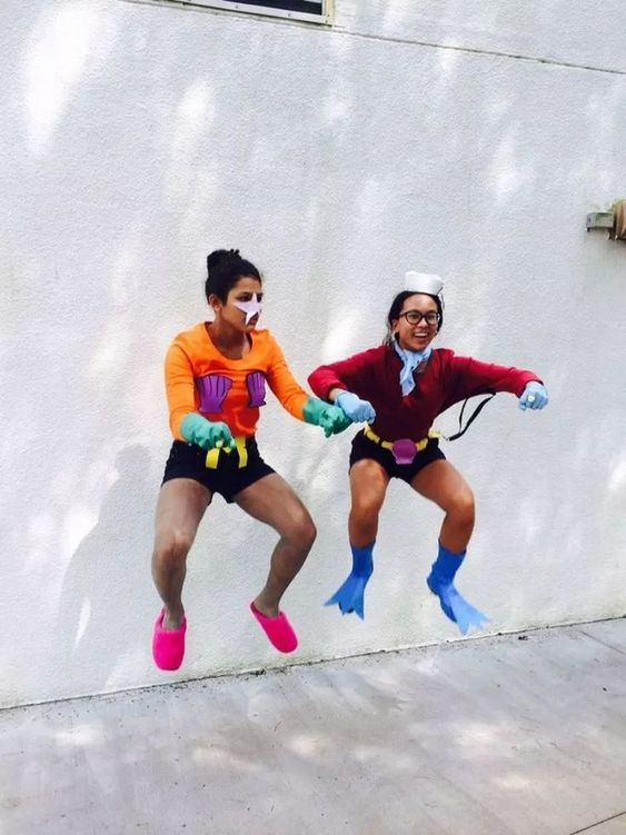 Cute BFF Halloween costumes for two girls: Mermaid Man and Barnacle Boy costumes