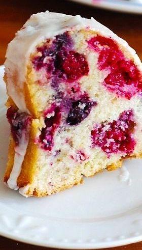 Mixed Berry Bundt Cake with Lemon Glaze