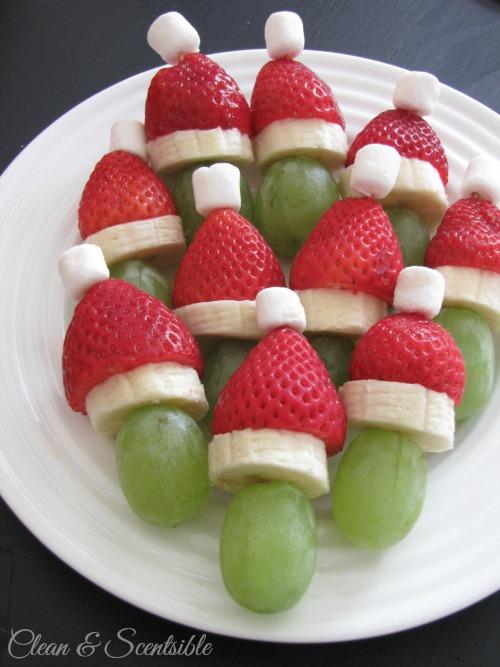 Healthy Grinch Fruit Skewers