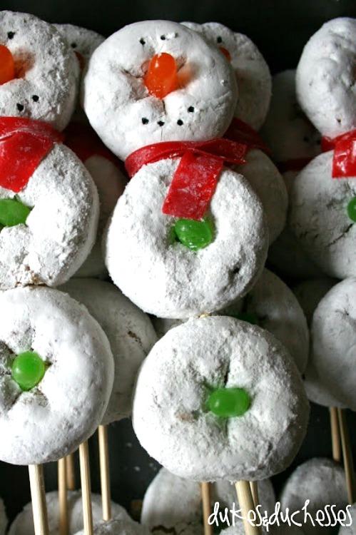 Best Christmas breakfast ideas: Snowman on a Stick Donut Snowmen