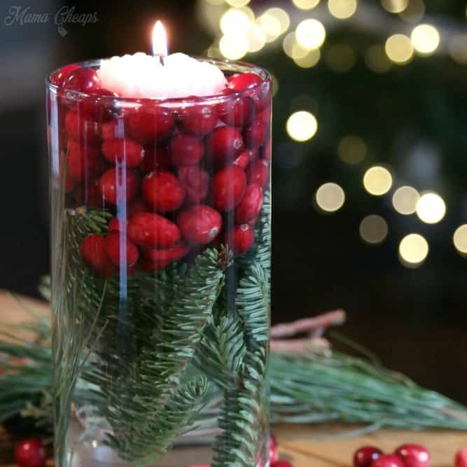 Simple Cranberry Evergreen Candle Jars