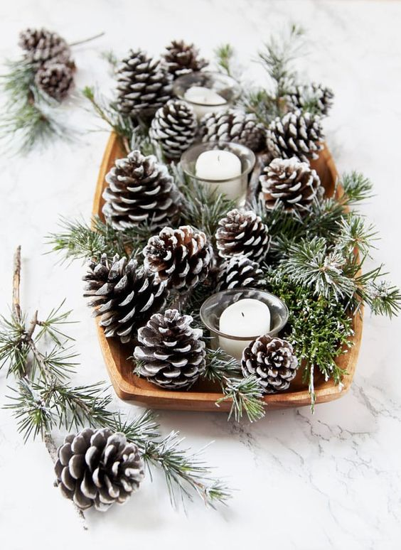 DIY Snow Covered Pine Cones & Branches Centerpieces
