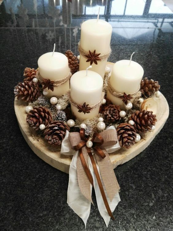 Christmas Pinecones & Candles Centerpieces