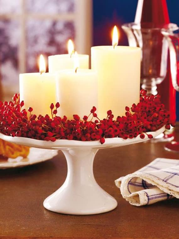 Candles on a Cake Stand Holiday Centerpiece