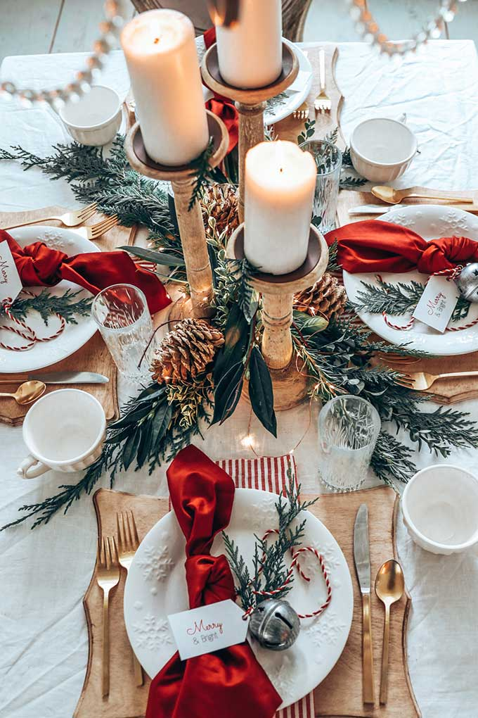 Easy Elegant Christmas Table Setting With Red
