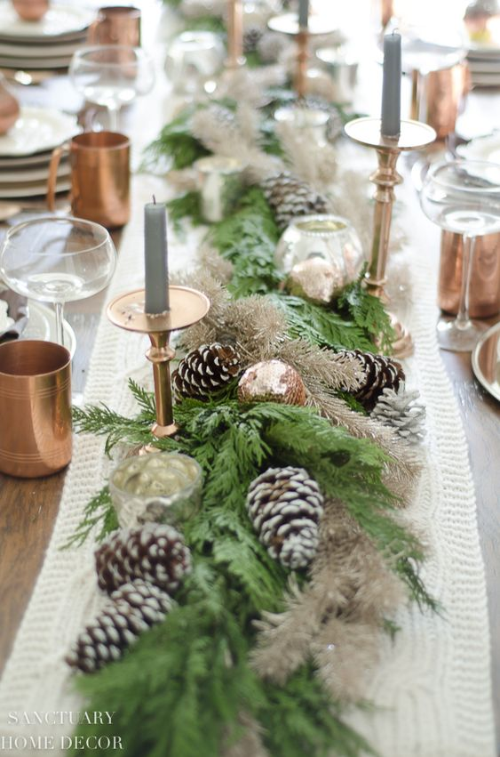 Neutral & Copper Accents As Christmas Table Settings