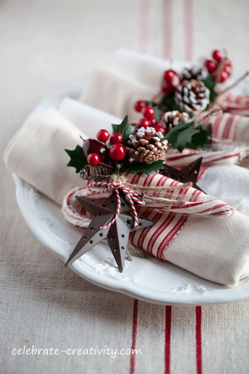 Red Holiday Napkin Rings