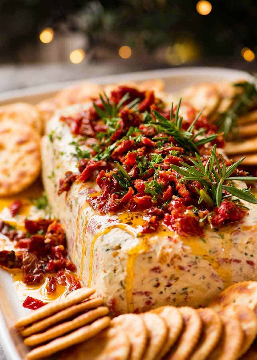 Italian Cheese Log Christmas Dips