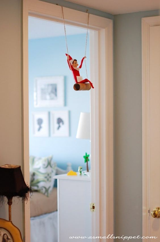 Funny elf on the shelf ideas with toilet paper roll