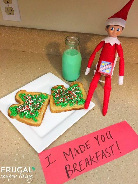 Cute elf on the shelf ideas in the kitchen