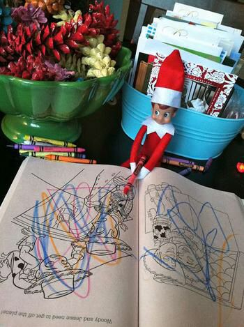 Naughty elf on the shelf coloring book