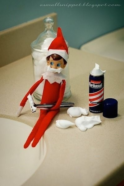 Funny elf on the shelf ideas - elf shaving cream in the bathroom