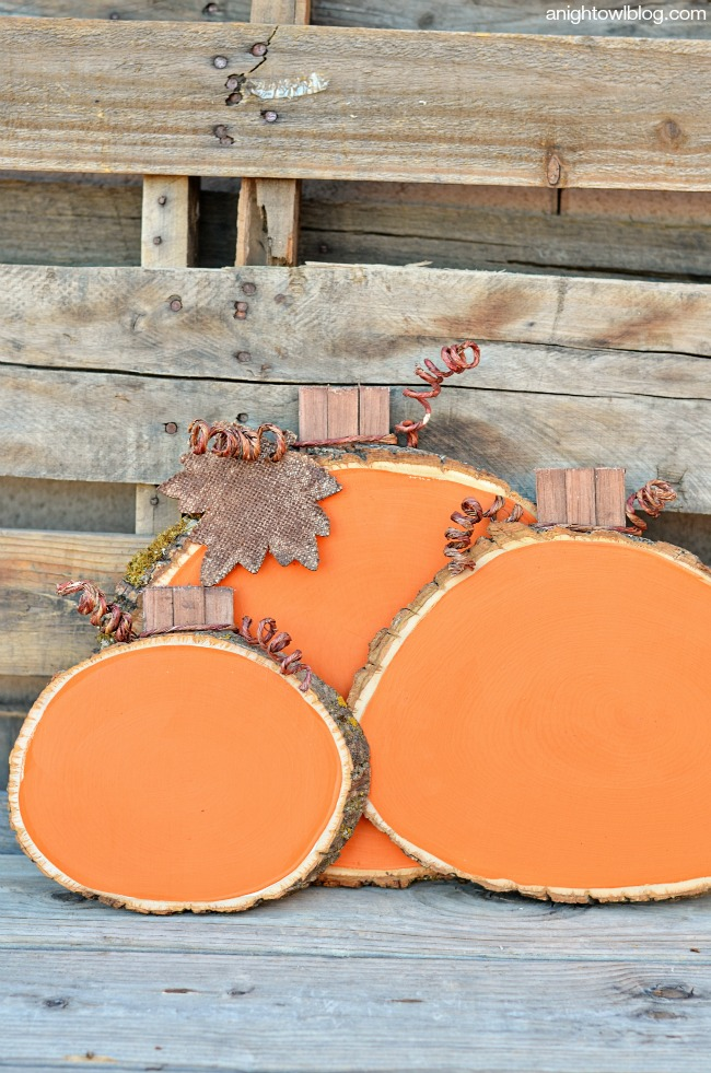 Painted Wood Slice Pumpkins