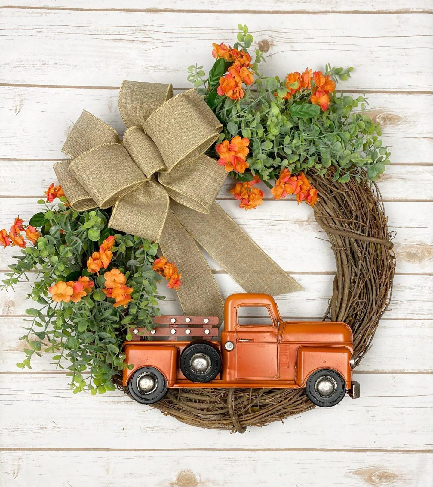 Orange truck fall wreath