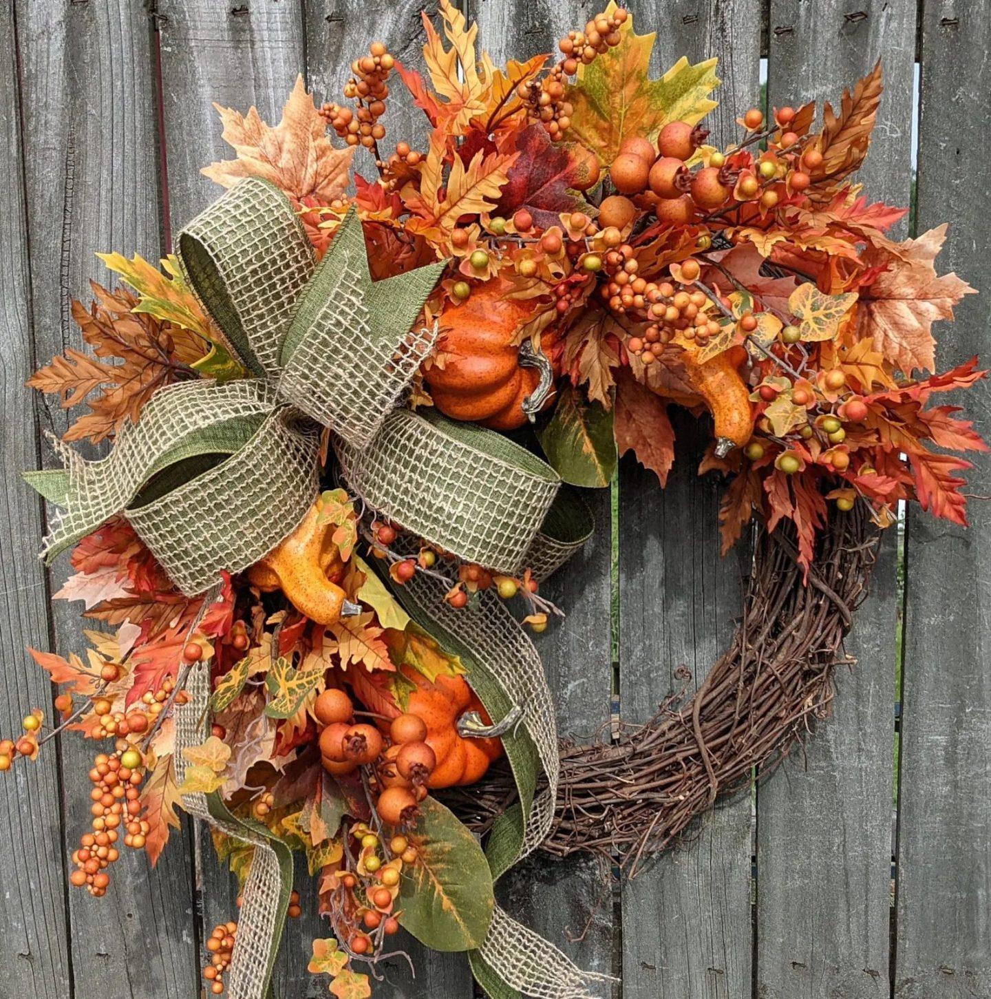 Fall leaf and berries wreath