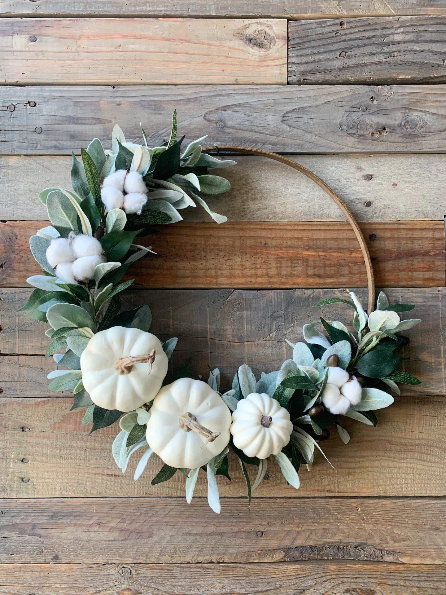 Modern hoop wreath with white pumpkins