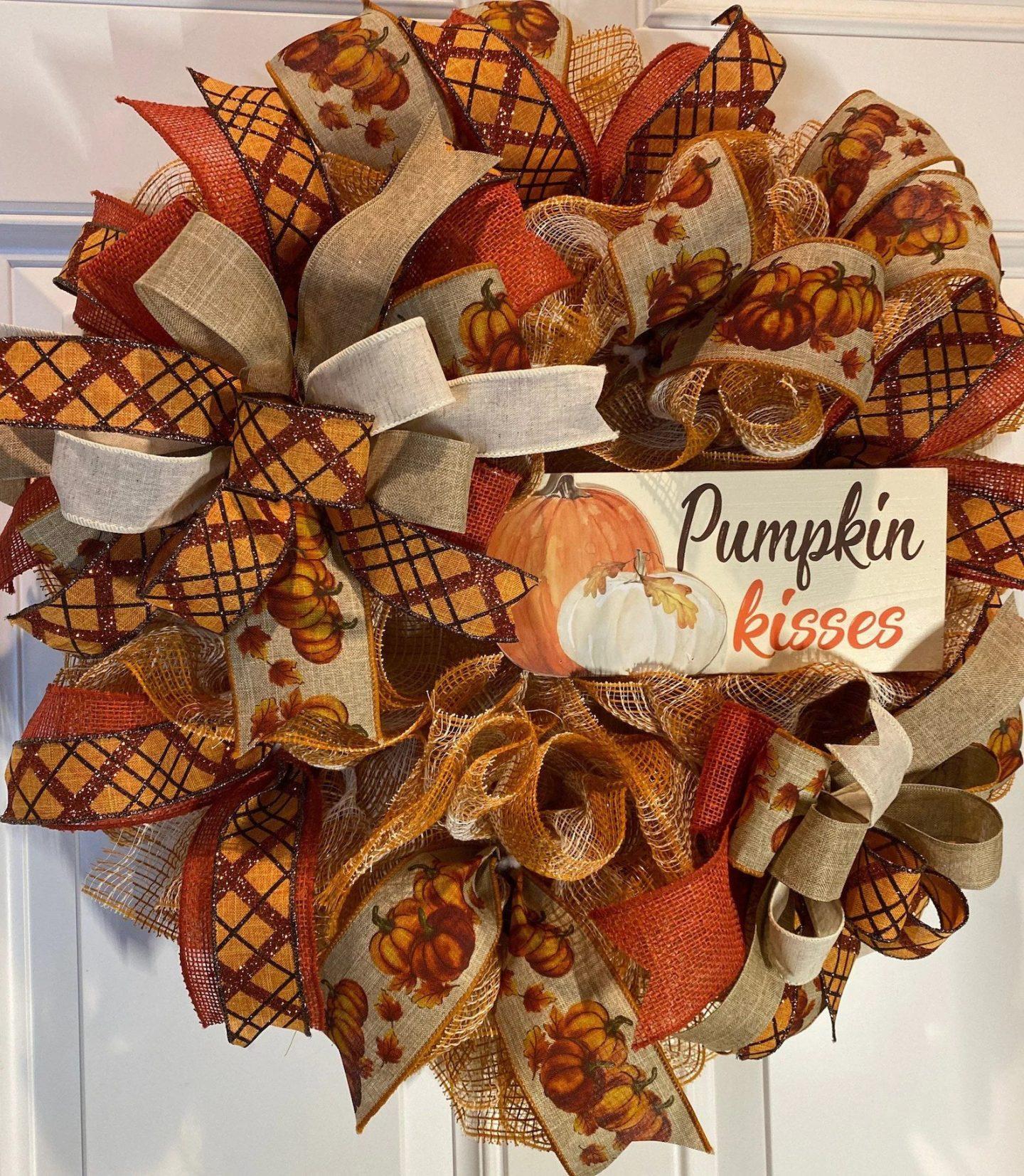 Deco mesh fall wreath with pumpkins