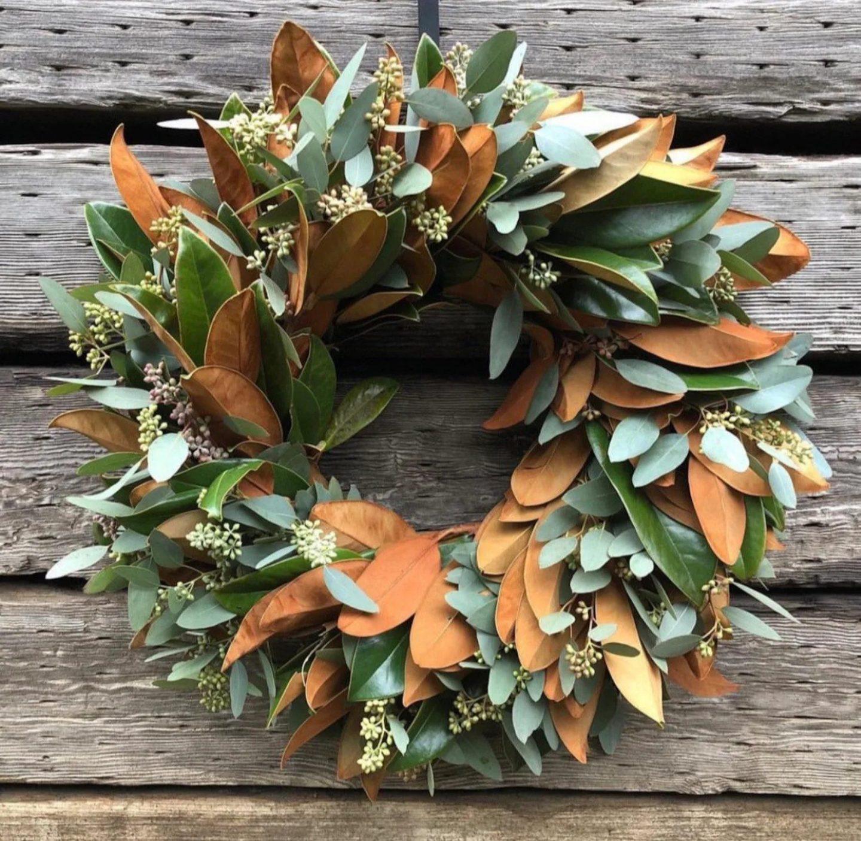 Magnolia and eucalyptus fall wreath