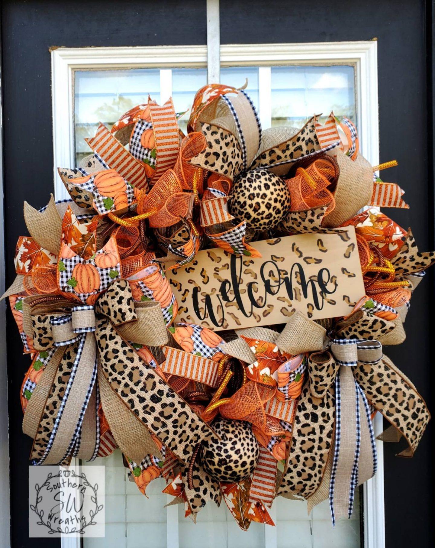 Leopard print deco mesh wreath with burlap