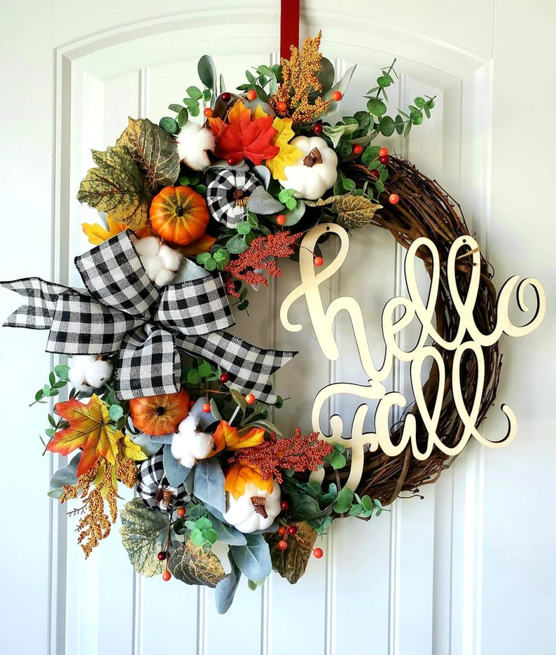 Hello Fall wreath with plaid and pumpkins