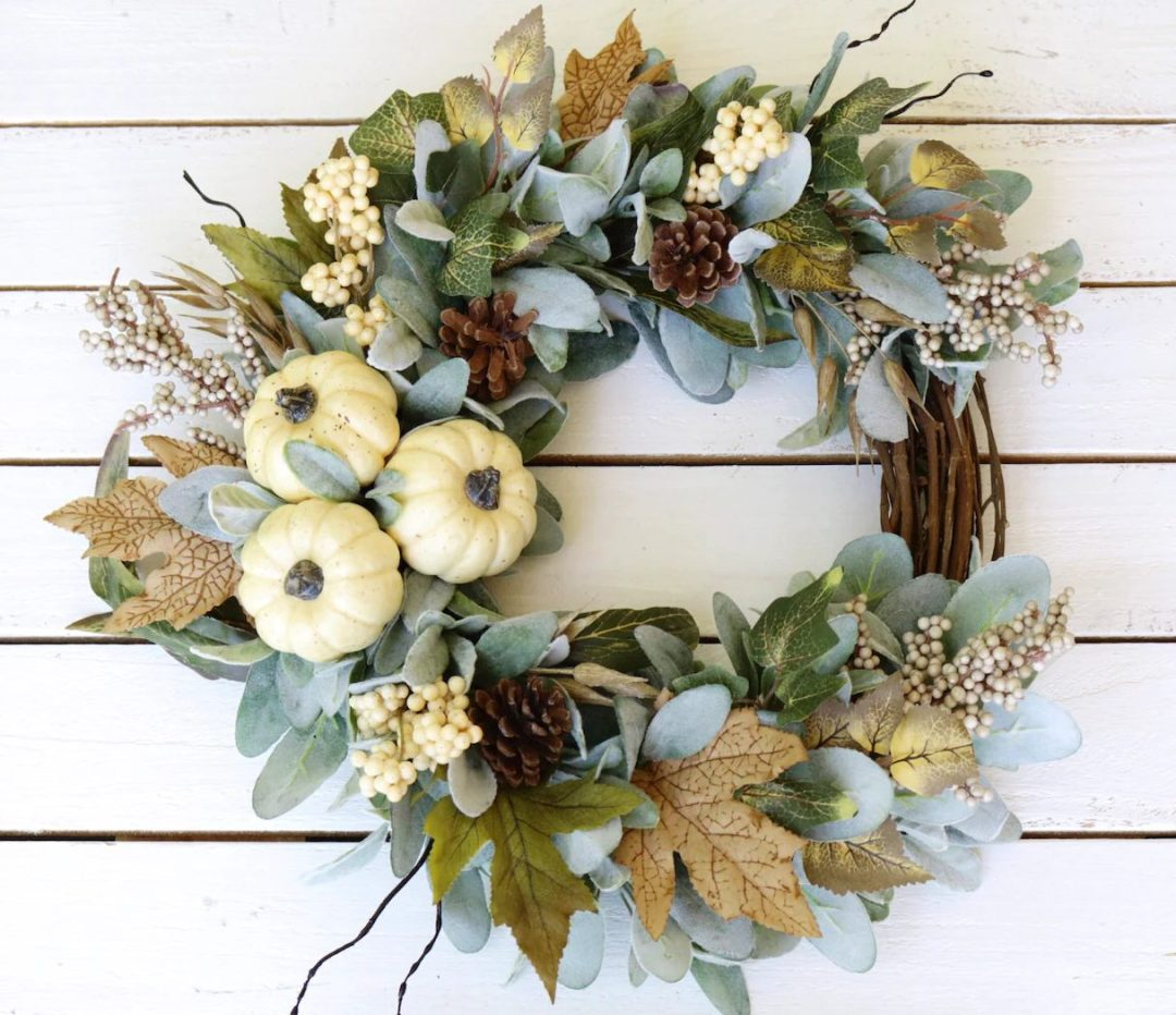 Rustic White Pumpkins & Lambs Ear Wreath