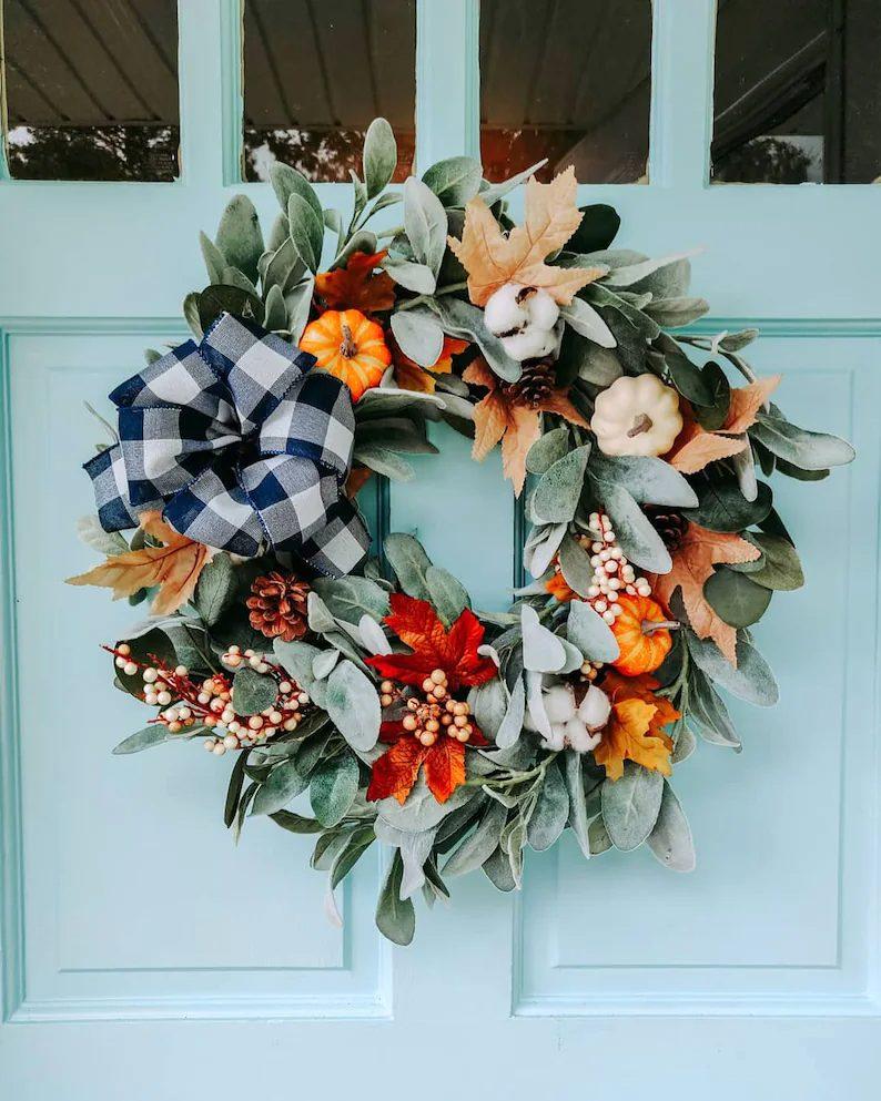 Fall wreath with buffalo print bow and lambs ear