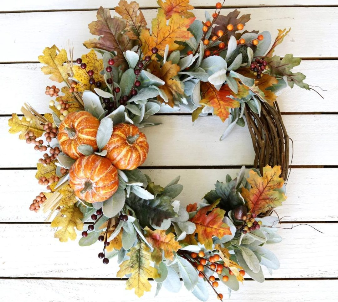 Rustic fall wreath with pumpkins