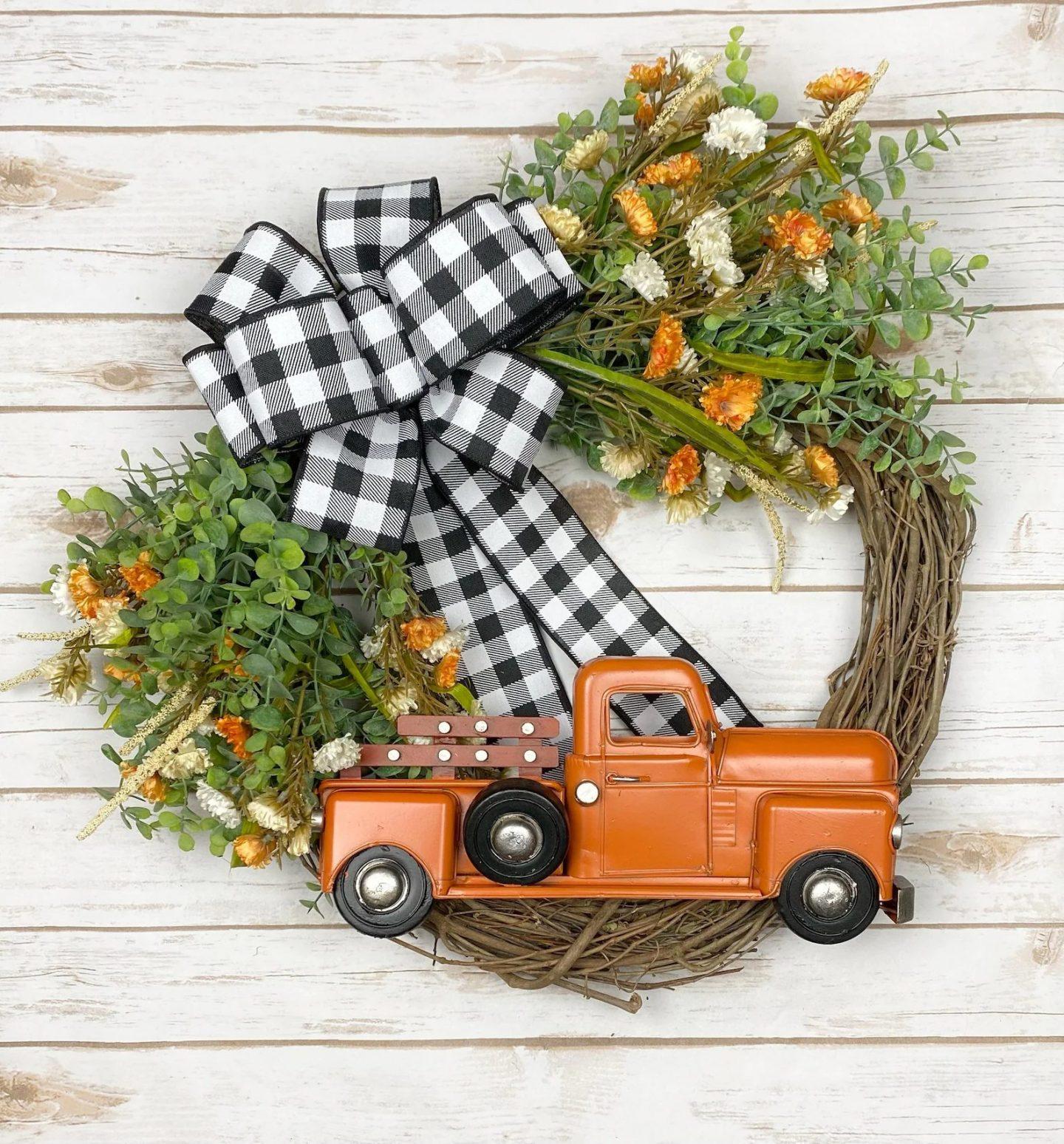 Orange fall truck wreath with buffalo plaid