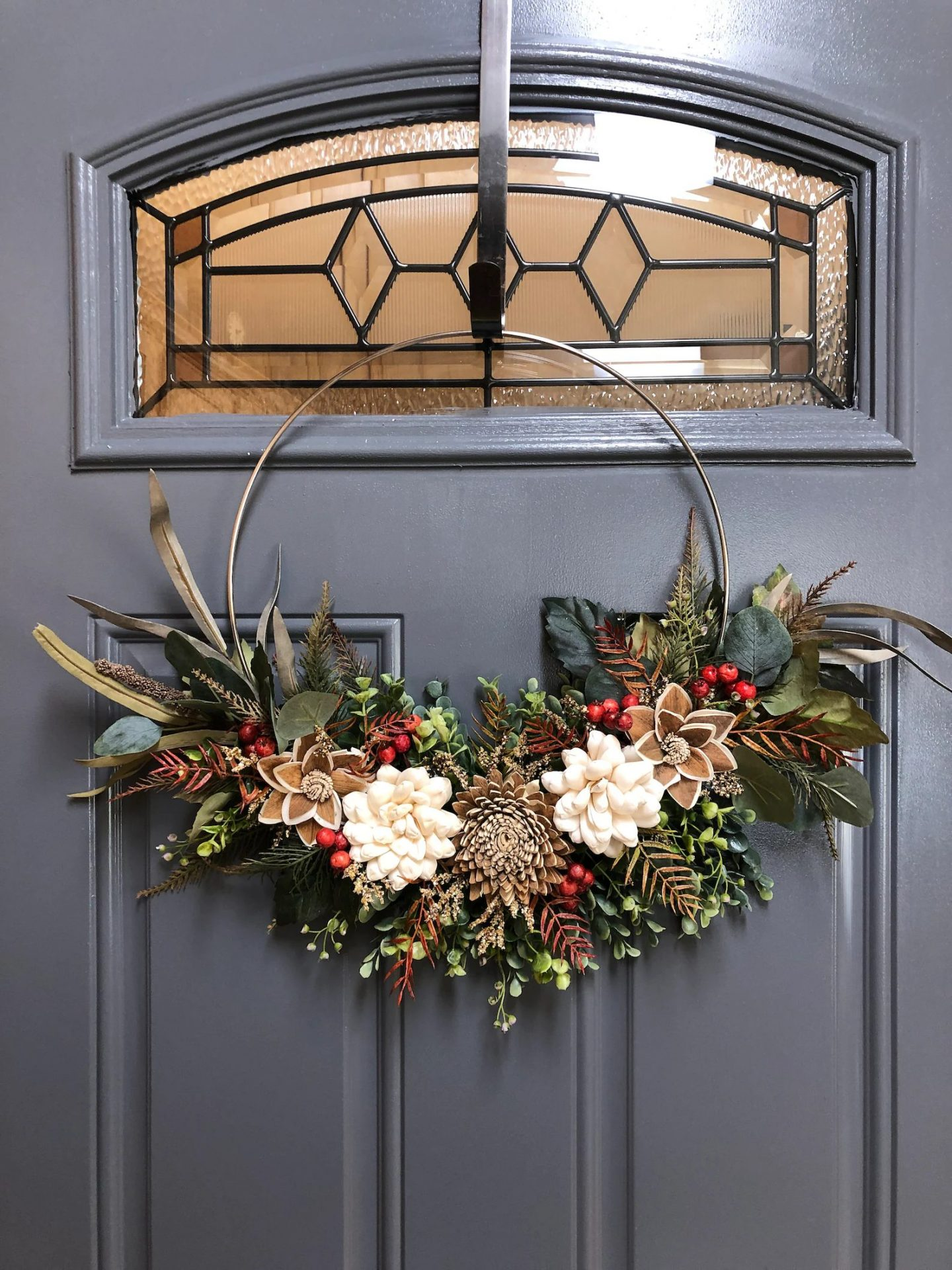 Modern fall hoop wreath with pinecones