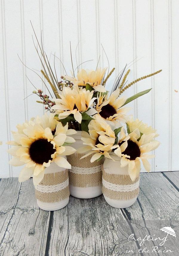 Mason Jar Craft Ideas: Sunflower Display