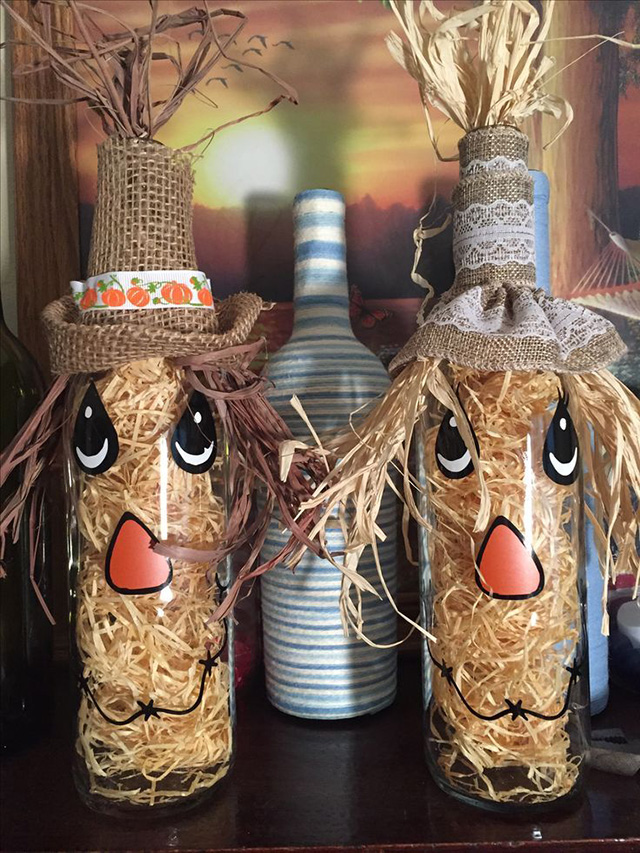 Best fall crafts for adults: Scarecrow Bottles