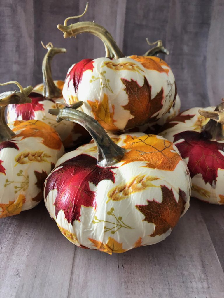 Easy Fall Crafts For Adults: Leaf Covered Napkin Pumpkins