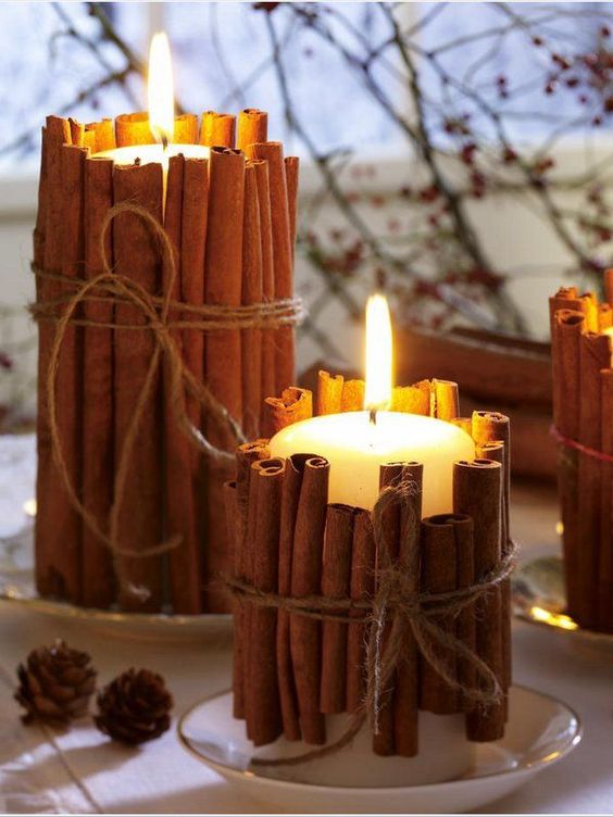Easy fall crafts for adults: Cinnamon Stick Candles