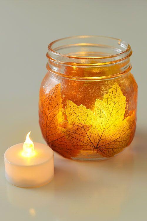 Easy fall crafts for adults: Mason Jar Leaf Lanterns