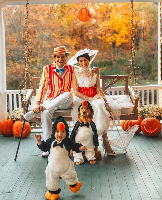 Mary Poppins family costumes with baby and dog