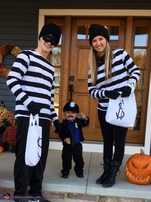 Bank robber family costume with baby