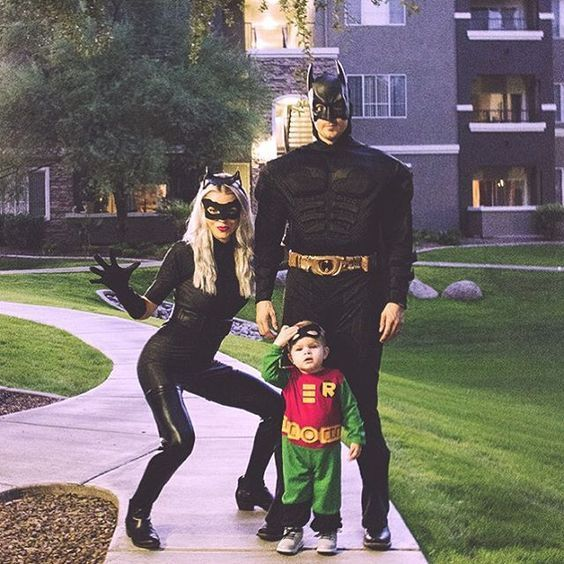 Batman, Catwoman and Robin family halloween costumes