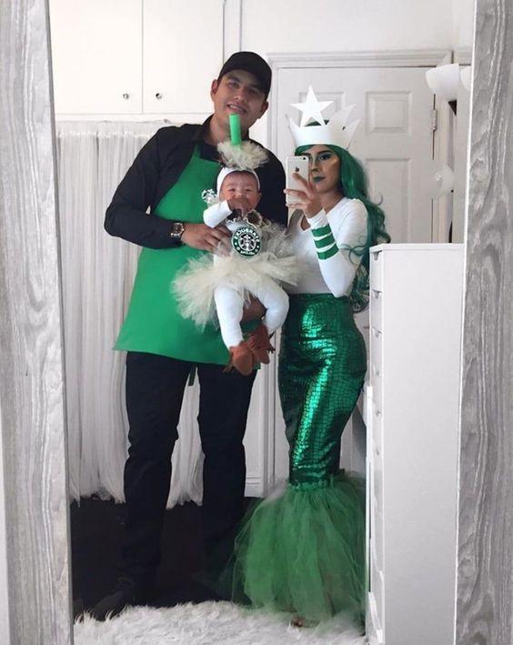 Starbucks family costume with baby